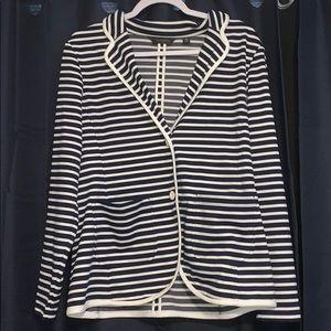 Navy and white striped blazer size 14